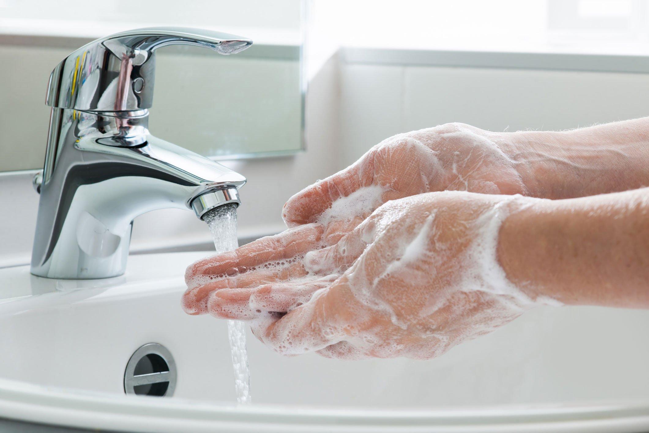 Coronavirus advice washing hands with water and soap