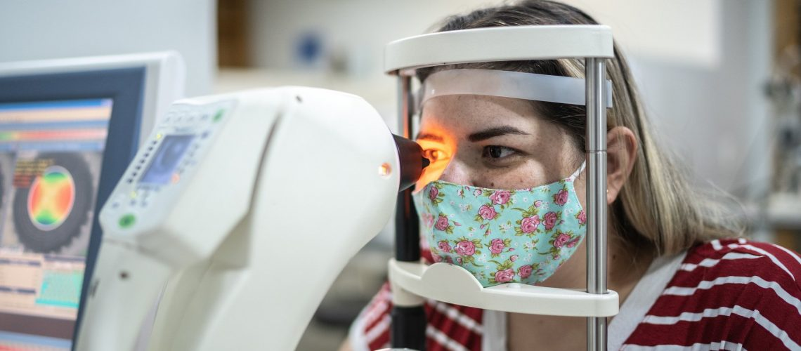Woman doing an eye test