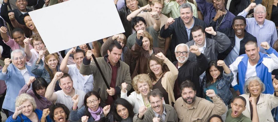 Crowd of demonstrators